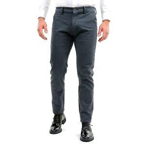 Pantaloni-Uomo-Invernali-Eleganti-Chino-Slim-Fit-Grigio-Cotone-Pantalone-Tasca-A