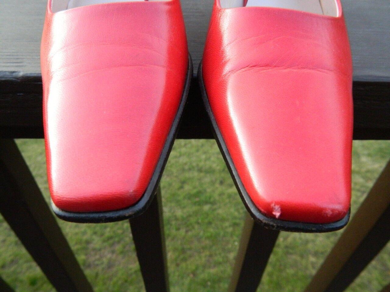 Escada True rot Leather Sling Back Pump Pump Pump schuhe w Silber heel, US Größe 7, EUC 152818