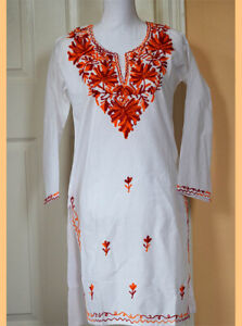 Orange-Red-Embroidered-White-Color-Long-Cotton-Tunic-Top-Kurti-from-India