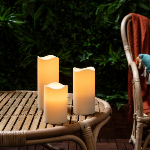 Garden /& Patio Lights With Timer Set Of 3 Outdoor Battery Flameless LED Candles