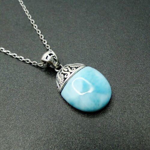 Hot Sale Solid Sterling S925 Natural Larimar Gemstones Necklace Pendant