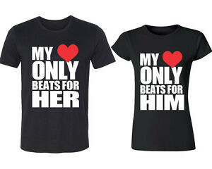 fc8763ec My Heart Only Beat For Him Her Couple TSHIRT Matching Couple T ...