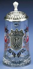 Poland Glass German Beer Stein Mug with Polish Eagle