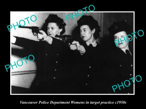 OLD LARGE HISTORIC PHOTO OF VANCOUVER CANADA, WOMENS POLICE TARGET PRATICE 1950
