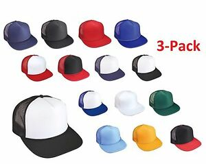 bd9c3b6424c 3 PACK Flat Bill Snapback Hats Foam Front Mesh Trucker Classic Caps ...