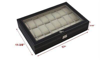 24 Slot Leather Watch Box Display Case Organizer Glass Top Jewelry Storage New