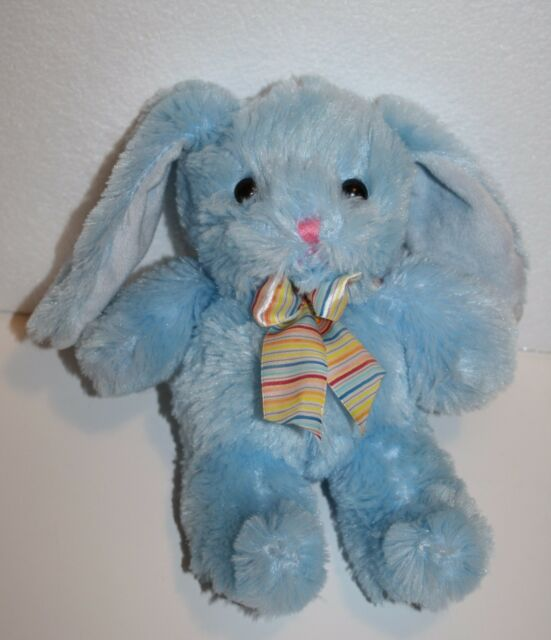 Walmart Blue Bunny Rabbit Easter Plush Stuffed Animal Striped Bow 9