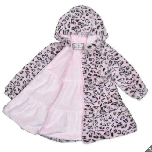 American Widgeon Girls peluche cappotto con cappuccio Pelliccia Sintetica Leopardato Rosa Caldo