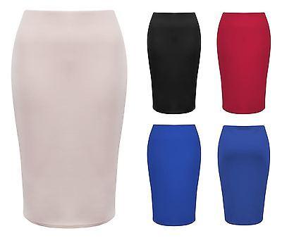 Womens Bodycon Pencil Skirt Ladies Stretch Knee Length Tube Office Plain Midi