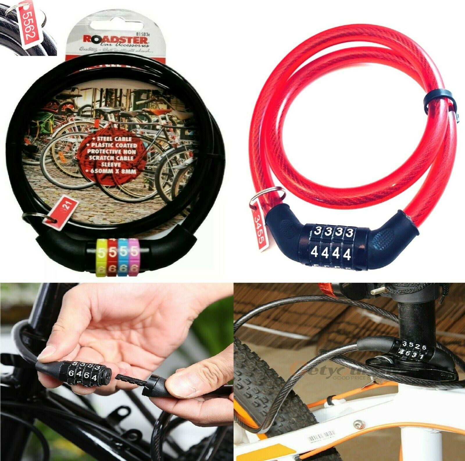 COMBINATION STEEL CABLE LOCK CYCLE MOUNTAIN BIKE BICYCLE 500mm x 6mm NEW