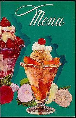 1950/'s Sealtest Ice Cream Shop Soda Fountain Blank Cardstock Menu Rare Vintage