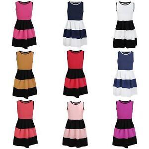 Girls-Summer-Sleeveless-Skater-Dress-Textured-Casual-Party-Top-Skirt-3-14-Years
