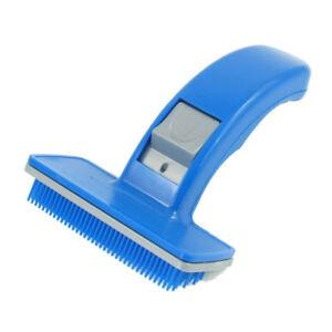 Bleu-Plastique-Chiots-Chien-Perte-Cheveux-Toilettage-Brosse-Peigne-WT
