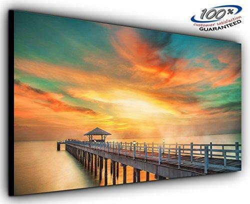 Distant Pier Panoramic Canvas Wall Art Print Framed XXL 55 Inch X 24 ...