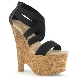 Details about PLEASER Beau 669 Black Elastic Band Cork Wrapped Wedges Sandals 6.5