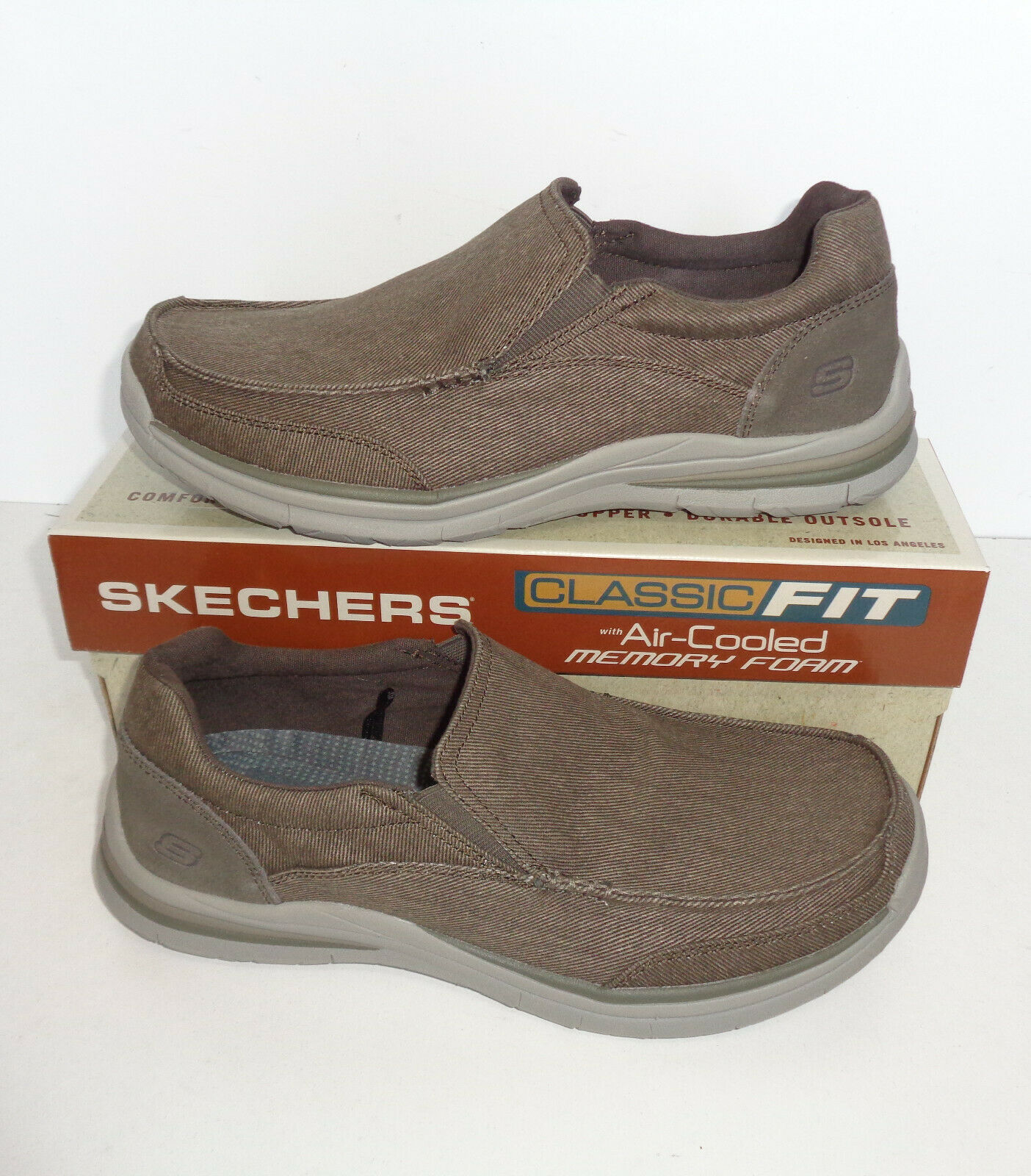 Skechers New Mens Memory Foam Slip On Casual loafers shoes Khaki Trainers