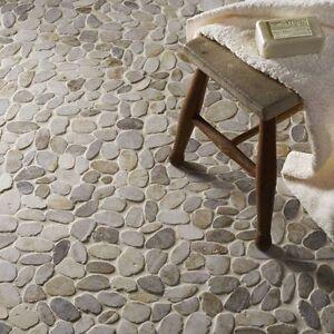 Cut down sample of white flat riverstone pebble mosaic wall & floor ...