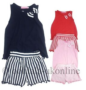 Girls-Kids-Pom-Pom-Bow-Shorts-amp-Vest-Top-2-Piece-Set-Outfit-Ages-2-to-12-Years