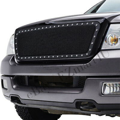 Fit 2004 2008 Ford F150 Front Upper Abs Mesh Grille With Silver Rivet W/ Shell by Unbranded