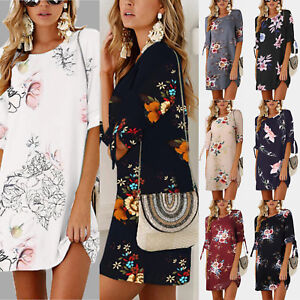 Women-Floral-Printed-Long-Tops-Blouse-Summer-Beach-Tunic-Dress-Plus-Size-6-22