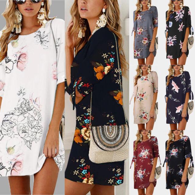 Women Floral 3/4 Sleeve Mini Dress Long Top Summer Beach Tunic Dress Plus Size