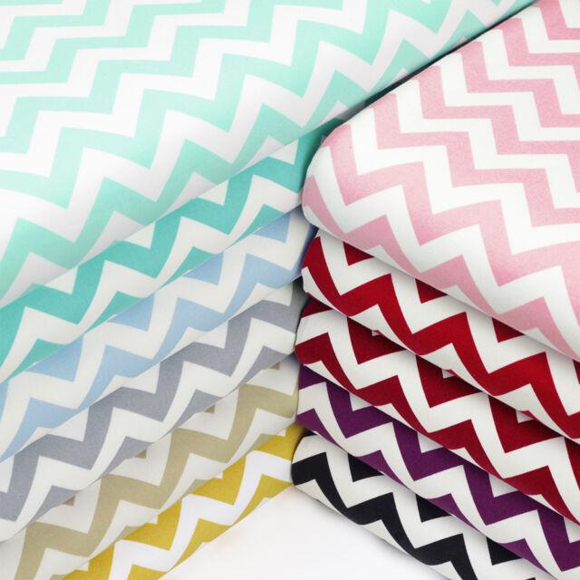 Cotton Fabric by FQ 10mm Zig Zag Chevron Stripe Dress Quilt Patchwork Craft VK49