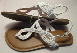 dc214e6b6e50 New Merona Jana Womens 10 M White Braided Padded Thong Sandals w ...