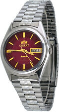 Orient BEM6Q002H Men's 3 Star Stainless Steel Red Dial Automatic Watch