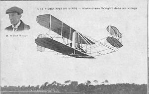 CPA-AVIATION-LES-PIONNIERS-DE-L-039-AIR-AEROPLANE-WRIGHT-DANS-UN-VIRAGE