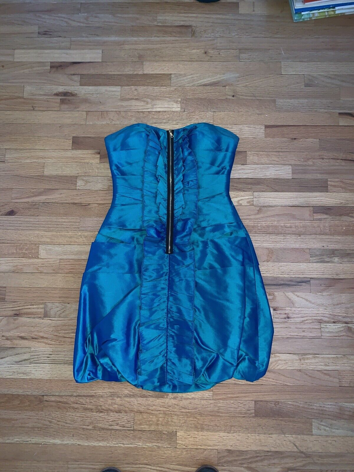 Phoebe Couture Strapless Dress size 0 bluee Green Prom Formal Party