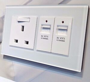 Image Is Loading White Glass Designer Wall Electric Plug Sockets Amp