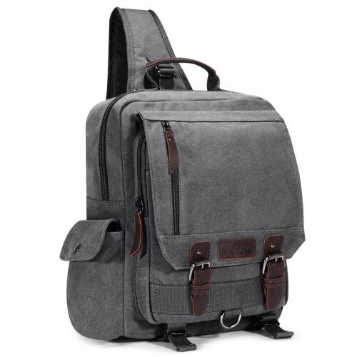 Men Canvas Sling Chest Bag Travel Hiking Cross Body Messenger Shoulder Pack