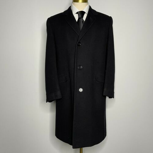 Kuppenheimer Overcoat Black Wool Trench Top Long C
