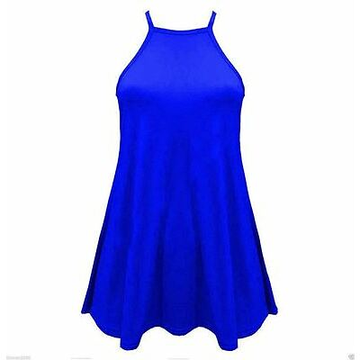 Ladies Sleeveless High Halter Neck Cami Vest Swing Camisole Women Tops Plus Size