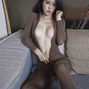 Women-Sexy-Lingerie-Zipper-Bodysuit-Nightgown-Clubwear-Nightwear-Jumpsuit-Romper