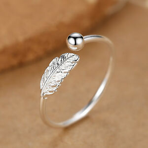 925-Silver-Adjustable-Mens-Womens-Feather-Angel-Finger-Bead-Ball-Ring-UK-M