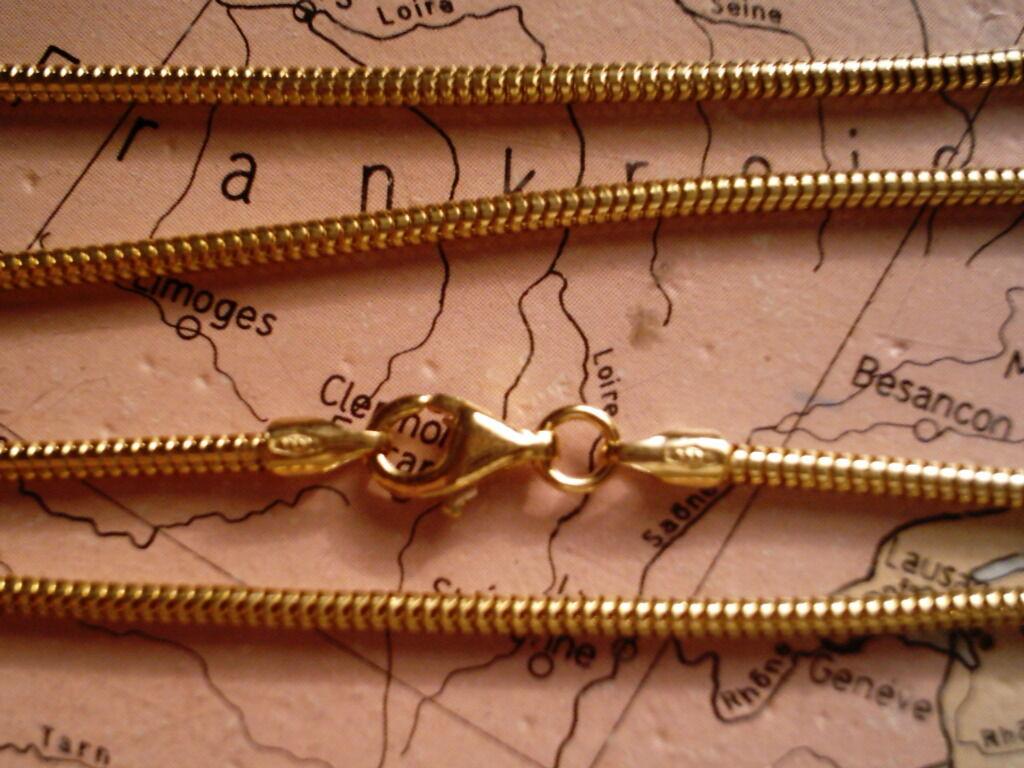 Round serpenti CATENA oro oro oro 585 lunghezza 42 CM x 1 6 mm CATENA D'oro 585 Collier 42 cm 027638