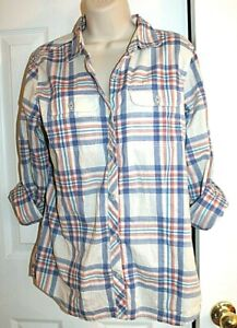 The North Face Women's Plaid Button Front Long Sleeve Camp Shirt size L