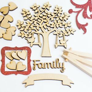 MDF-Family-Tree-Set-Kit-with-Tree-Wooden-Hearts-and-Word-Craft-Blank-Shapes-3mm