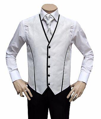 Bene Uomo Gilet Di Nozze 3 Pezzi Con Plastron Tg. 64 Bianco-mostra Il Titolo Originale Ultimo Stile