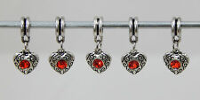 5 X TIBETAN SILVER HEART DANGLE CHARMS WITH BAIL BEAD WITH RED RHINESTONES