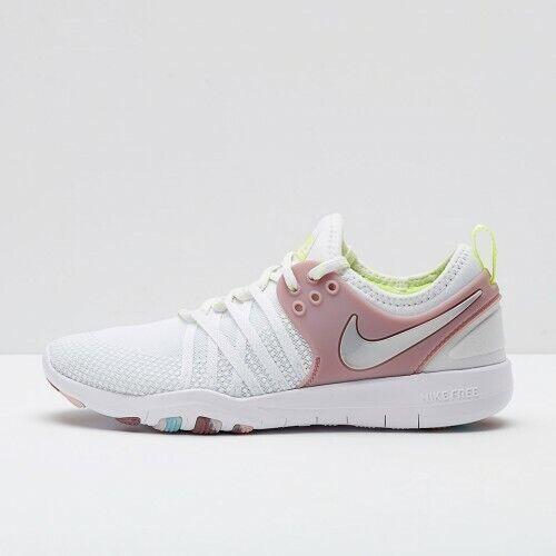 NIB Nike Free TR 7 Sneakers White Metallic Silver Rse 904651-102 Women's Sz 7-10