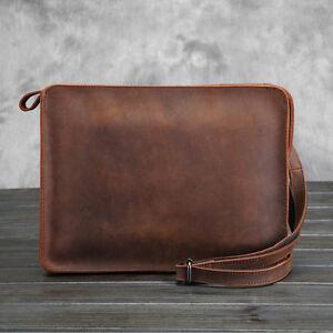 Men-039-s-Wallet-Wristlet-Shoulder-Envelope-Clutch-Bag-Messenger-Briefcase-Leather
