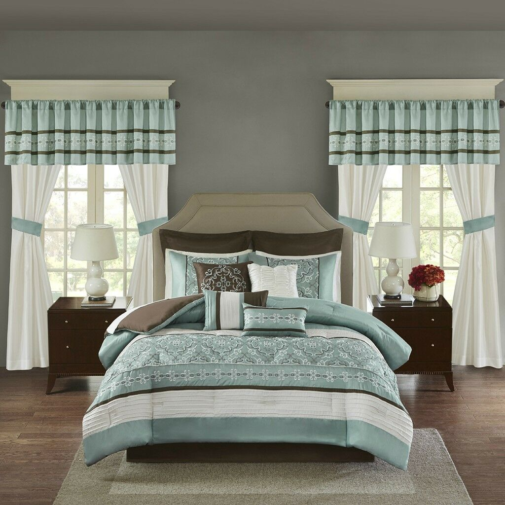 Luxurious Seafoam Marronee bianca Comforter Bedskirt Curtain Valance 24 pcs Full set