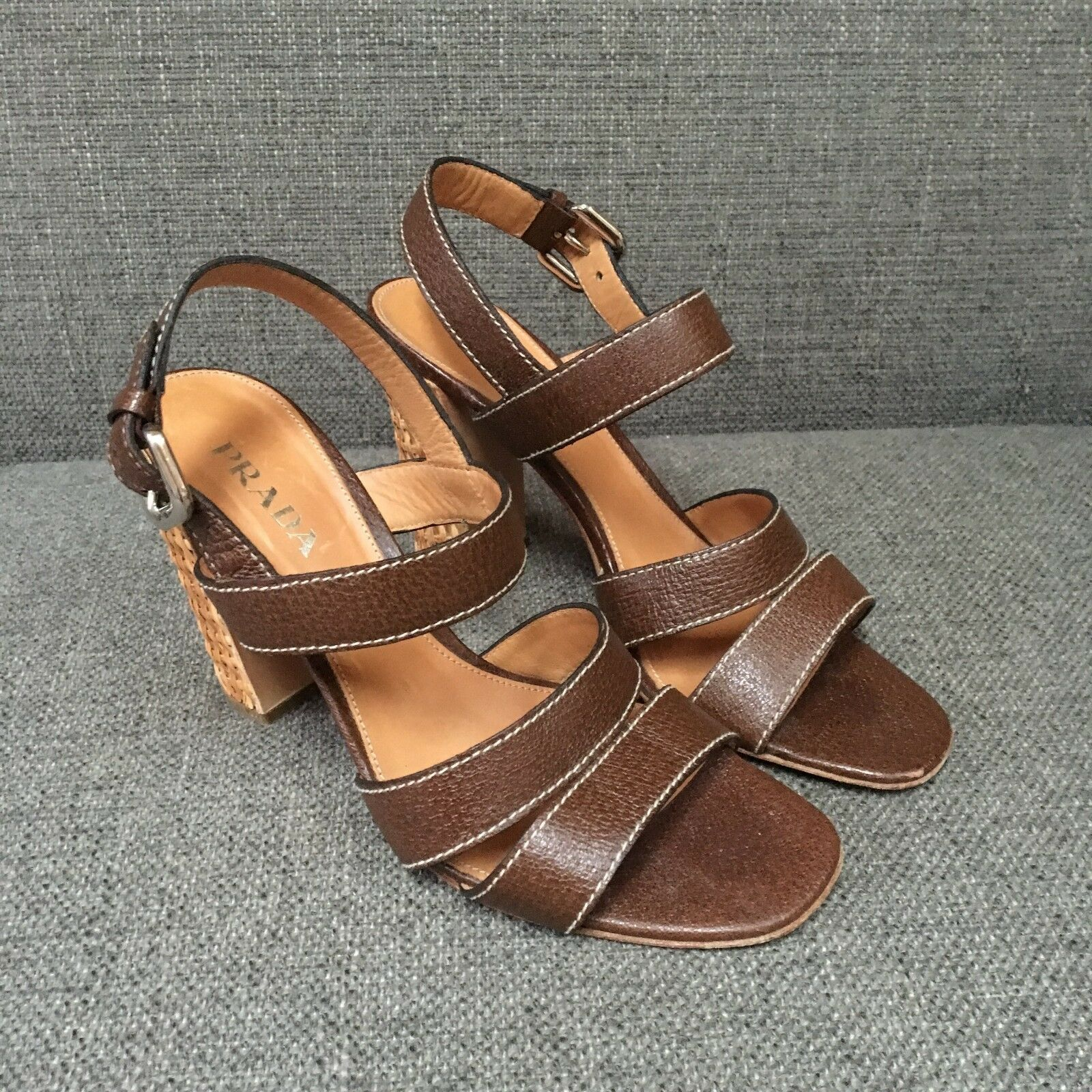Prada Brown Leather Sandal Straw Raffia Block Heel Simple Slingback 38 7.5