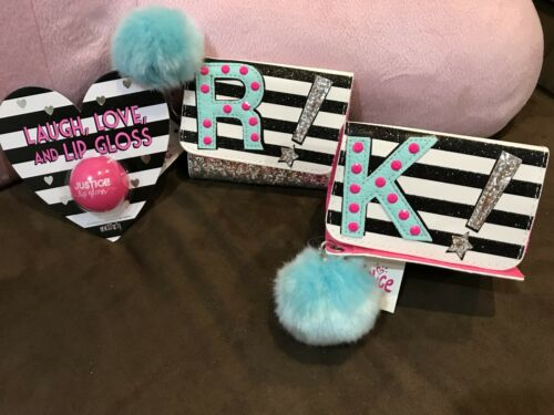 JUSTICE GLITTER /& STRIPES INITIAL WALLET /& LAUGH//LOVE//LIPGLOSS STRAWBERRY! K,R