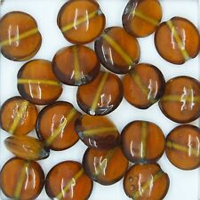 Glass Beads Topaz Transparent Lentil 12mm. Pack of 20. Made in India.
