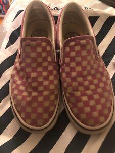 Sale Vans Slip On Pink White Checkered