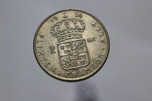 SWEDEN-2-KRONOR-1954-SILVER-NICE-DETAILS-A82-11