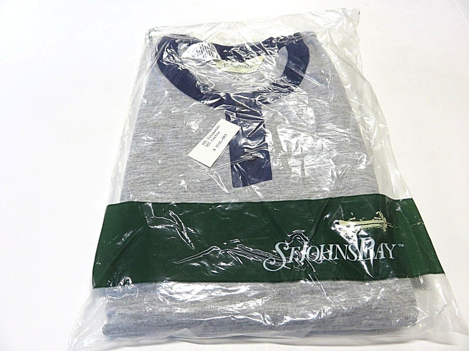 NWT St. John's Bay Grey & bluee 1 4 Button Shirt Men's Size 56 58 H Big Sizes